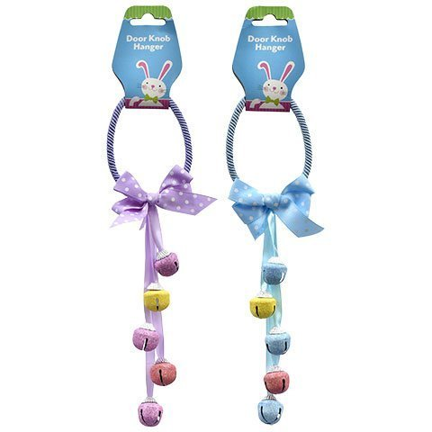 Egg-Shaped Pastel Easter Door Knob Hangers With Bells, 2 - 12inch Set, 1 Blue And 1 Purple by Greenbrier International (Image #1)