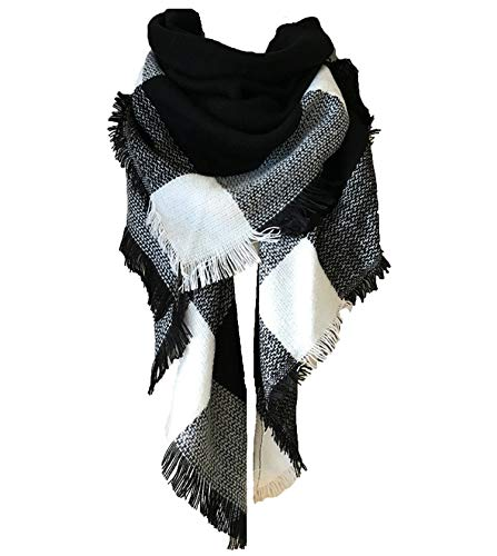 Wander Agio Womens Warm Scarf Triangle Shawls Large Scarves Stripe Plaid Fichu Big Black White 15 ()