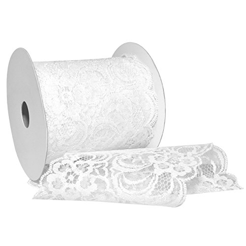 Morex Ribbon 7636.90/10-601 Nylon Chantilly Lace Ribbon, 3-1/2
