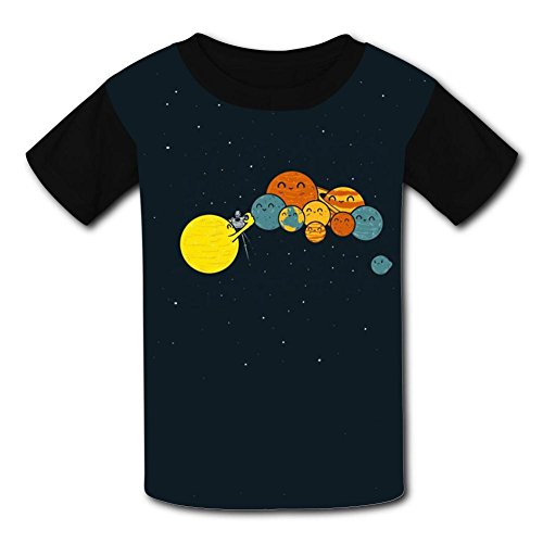 O-Neck Polyester Fiber Cartoon Short Sleeve Top T-Shirt For Boys Girls,Print Planetary Photography S