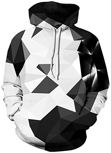 RAISEVERN Unisex Hoodie Diamond Pullover Funny Black & White Geometric Hooded Sweatshirts with Pockets for Womens/Mens