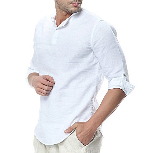 (Mens Linen Henley Shirt Casual 3/4 Sleeve T Shirt Pullover Tees V Neck Curved Hem Cotton Shirts Beach Tops White)