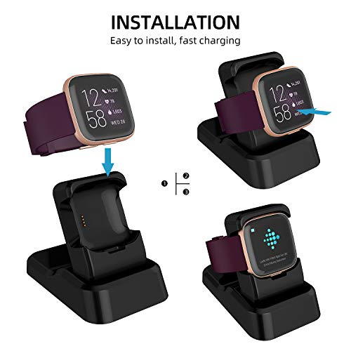 Compatible with Fitbit Versa 2 Charger Stand, Kasmotion Replacement Charging Stand Clip Charging Cradle Dock Adapter Holder Compatible with Fitbit Versa 2