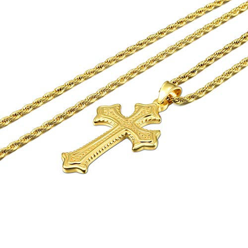 CAT EYE JEWELS 24inch Cross Pendant Necklace 18K Gold Plated 3mm Stainless Steel Chain Necklace