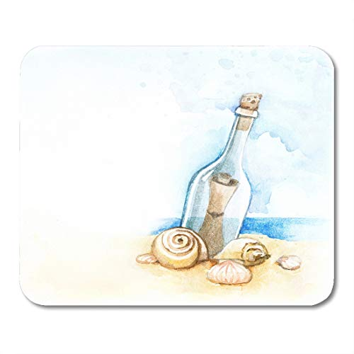 Emvency Mouse Pads Blue Beach Watercolor of Message in Bottle Sea Shell Sand Painting Mouse pad 9.5