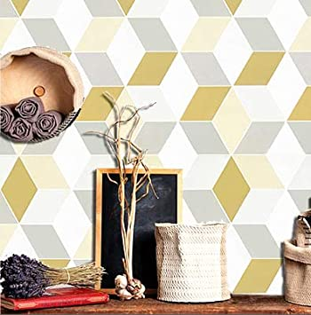 118 X17 7 Wallpaper Peel And Stick Wallpaper 3d Cube Geometry Contact Paper Diamond Wallpaper Removable Self Adhesive Wall Paper 3d White Yellow Grey Shelf Drawer Liner Covering Vinyl Roll Cubes Amazon Com