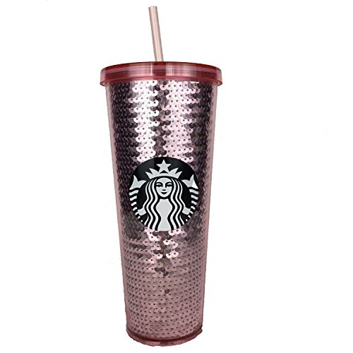 Starbucks Coffee Rose Gold Pink Sequin 24oz Venti Tumbler Cold Cup