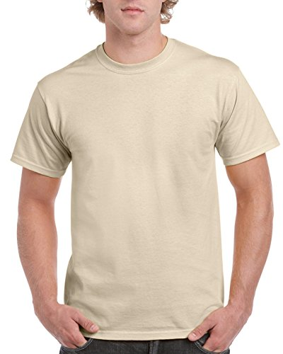 - Gildan Men's Ultra Cotton Tee, Sand, Medium