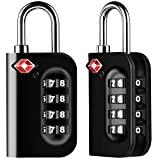 Diyife TSA Luggage Locks, [Newest Version][2 Packs] 4-Digit Security Padlock, Combination Padlocks, Code Lock for Travel Suitcases Luggage Bag Case etc. Black