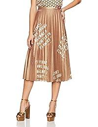 Dear Drew by Drew Barrymore Womens Lexington Ave Pleated Metallic Skirt