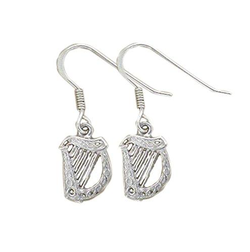 Sterling Silver Celtic Irish Harp Drop Earrings