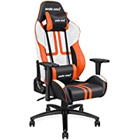 [Ergonomic Large Size High-back Reclining Office Gaming Chair] Andaseat Big and Tall Swivel Rocker Tilt E-sports Chair, with Height Adjustable with Lumbar Support and Headrest(White/Black/Orange)