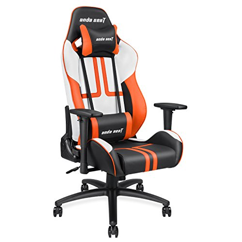 41XuBtPUSkL - [Ergonomic Large Size High-back Reclining Office Gaming Chair] Andaseat Big and Tall Swivel Rocker Tilt E-sports Chair, with Height Adjustable with Lumbar Support and Headrest(White/Black/Orange)