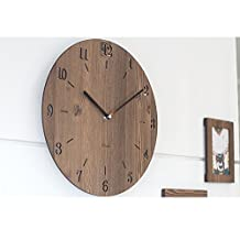 Pine wood vintage silent clock Round 12 inches Non-ticking Digital Clock Decorative Wooden Wall Clock (Brown)