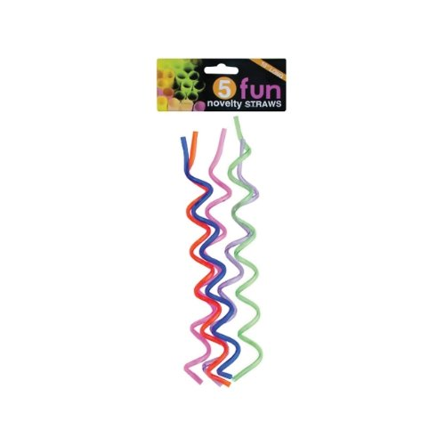 Bulk Buys Home Indoor Birthday Party Celebration 5 Pack 10 Inch Swirl Novelty Straws Case Pack Of 24
