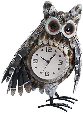 chisheen Owl Desk Clock for Home D cor with Changeable Luminous Light