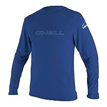 O'Neill UV 50+ Sun Protection Mens Basic Skins Long Sleeve Tee Sun Shirt Rash Guard, Pacific, Medium