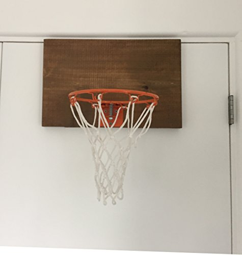 Swish Door Basketball Hoop with American Dark Cedar Wood Backboard & 3 Premium Mini Basketballs & Pump - Easy Set Up. (Bank Basketball Mini)