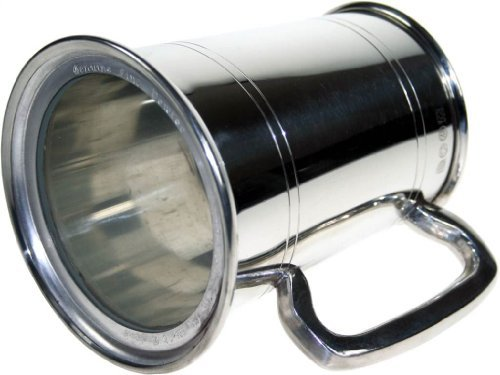 Pewter Glass Bottom - 1 Pint Double Lines Pewter Tankard With Glass Bottom and Free Engraving