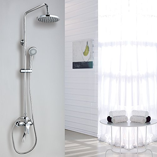 CRW Rain Shower System Shower Faucet Sets Triple Function Chrome with Adjustable Slide Bar Shower Head