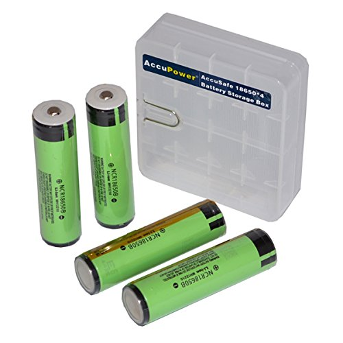Panasonic NCR18650B Li-Ion 3400 mAh Cell Protected Battery (Pack of 4)