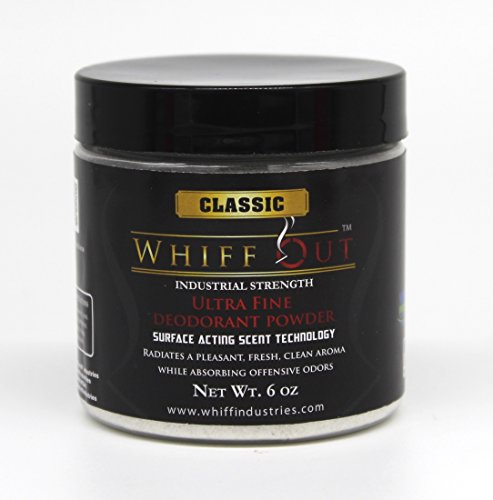 Whiff Out Classic - 6 0z. Deodorant Powder & Ashtray Deodorizer Designed to Eliminate Ashtray and Smoking Receptacle Odors Caused By Cigarettes & Cigars