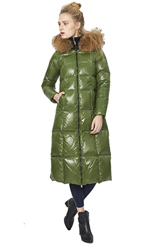 Queeenshiny New Style Winter Women's Long Down Coat with Raccoon Fur Hood Green L(12-14) by Queenshiny