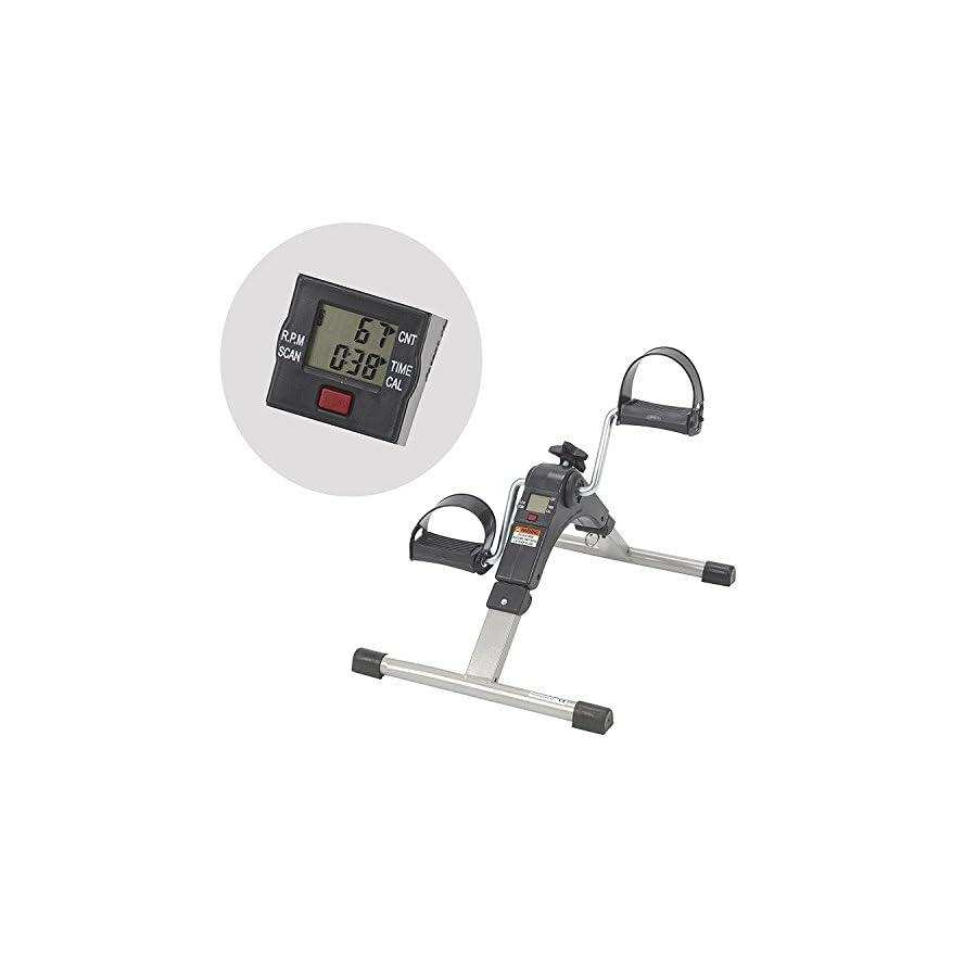 AdirMed Digital Foldable Mini Floor Foot Pedal Exerciser Leg Machine Under Desk Exerciser Fully Assembled No Tools Required