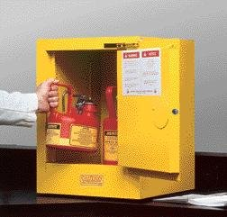 Justrite 4 Gallon Yellow Sure-Grip EX 18 Gauge Cold Rolled Steel Countertop Safety Cabinet With (1) Self-Closing Door And (1) Shelf (For Flammables)