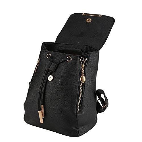 Allright 24 x 16 x 30 CM Damen Rucksack Leder Schwarz Klein Damen Tasche für Mädchen Freizeitrucksack