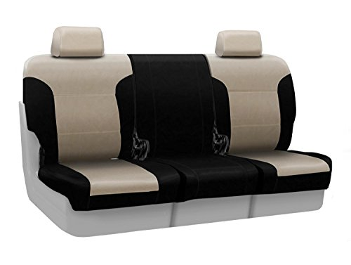 Coverking Custom Seat Cover for Select Lincoln Town Car Models - Premium Leatherette (Taupe with Black Sides) ()