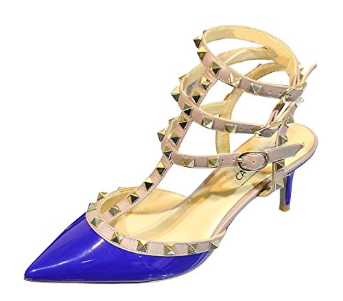 CAMSSOO Women's Pointed Toe Studded Strappy Sandals Rivets Mid Heels Wedding Party Stiletto Court Shoes Blue Patent/Beige Trim/Gold Studs mHz3JqK