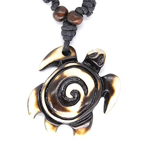 Turtle Necklace - Man Jewelry 1PC Imitation Yak Bone Tortoise Pendant Tribal Hawaiian Surfer Wood Beads Choker Turtles Necklace Gift ()