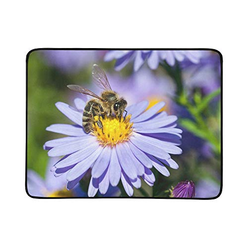 (VvxXvx Honey Bee Pollinate Yellow Flower Pattern Portable and Foldable Blanket Mat 60x78 Inch Handy Mat for Camping Picnic Beach Indoor Outdoor Travel)