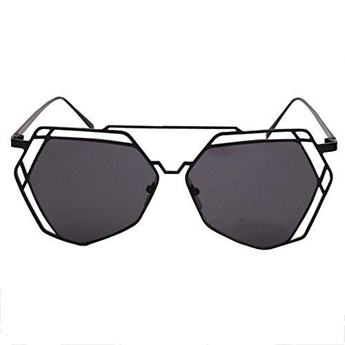 Sunglasses Negro Fuera Negro Conducción Metal de de Polígono Color Verano LVZAIXI Retro de Viaje Sol de Aviador de Moda Ahueca Marco Gafas hacia Bfw4FBAq