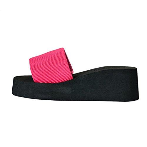 Vovotrade Femmes Chaussures D'été Sandales Slipper Intérieur Et Extérieur Simple La Mode Rouge