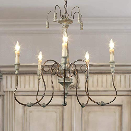 LALUZ French Country Chandeliers for Living and Dining Rooms Candle Hanging Light Fixture, Smoky Gray, A03299
