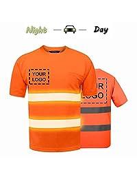 High Visibility Reflective Safety Work Shirts Custom Your Logo Hi Vis Outdoor Workwear Short Sleeve T-Shirt (Orange (XL))