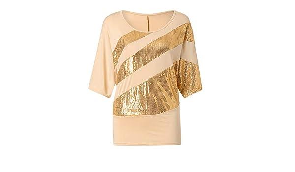 OrchidAmor Women Sequin Causel T-Shirt Top Cold Shoulder ...