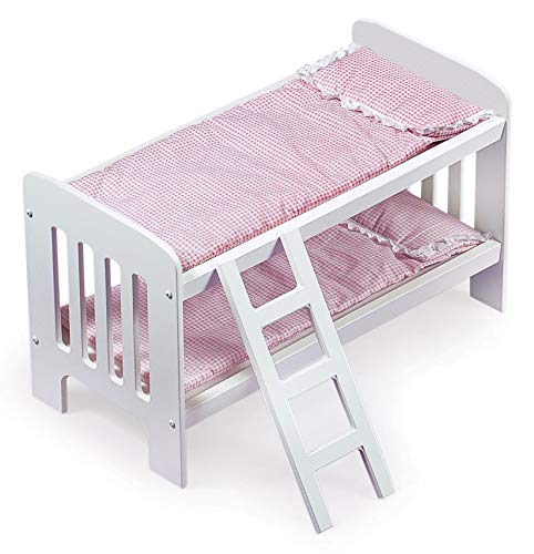 Badger Basket Doll Bunk Beds with Ladder (fits American Girl Dolls), Pink/Polka Dot White