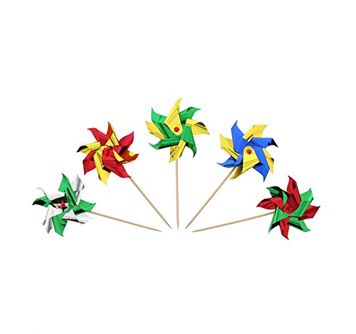"""CiboWares 4"""" Foil Pinwheel Party Picks, Assorted Colors, Package of 24"""
