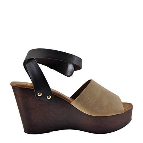 S Classified City Wedge Afton Taupe Strap Women's Studded Ankle 1H7wSnxqT7