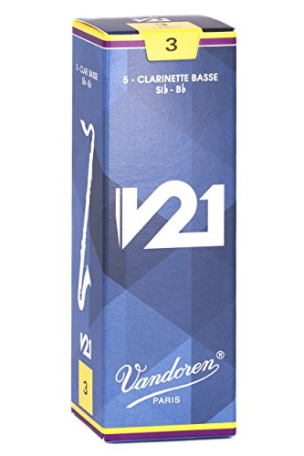Vandoren CR823 Bass Clarinet V21 Reeds Strength 3, Box of 5 (Vandoren Reeds Bass Clarinet 3)