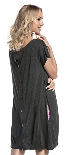 Happy Mama. Womens Labor Delivery Hospital Gown Breastfeeding Maternity. 097p (Graphite Melange, US 10/12, L) by Happy Mama