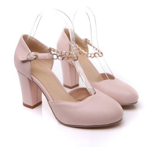BalaMasa da donna chiuso punta tonda tacchi alti solido pompe, Rosa (Pink), 38
