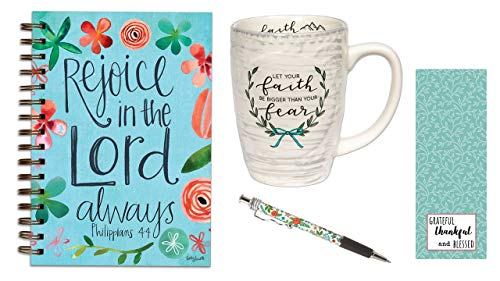 Faith Bigger Than Fear Coffee Mug, Rejoice in the Lord Journal, Mint Floral Ink Pen with Bookmark - Bundle -