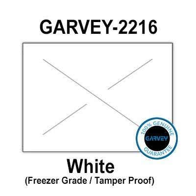 180,000 GENUINE GARVEY 2216 White Freezer Grade Labels: full case - 20 ink rollers - tamper proof security cuts