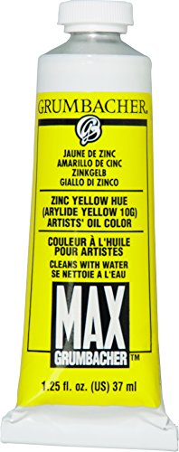 Grumbacher Max Water Miscible Oil Paint, 37ml/1.25 oz, Zinc Yellow Hue by Grumbacher