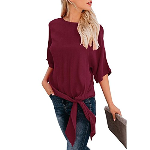 Vin de avant Blouse demi noeud shirt T Loose base Tefamore Top occasionnels cravate ❤️Femmes manches Rouge Fit RpTEZZ