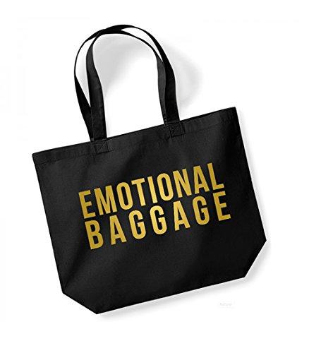 Emotional Baggage - Large Canvas Fun Slogan Tote Bag Black/Gold